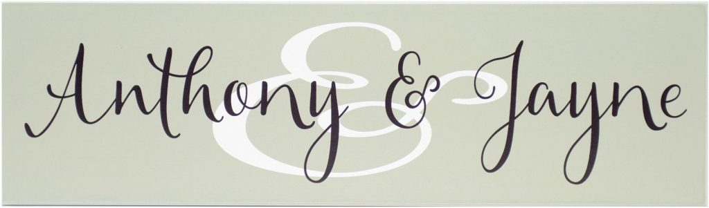 "Family Established Sign Bay Green wood sign with White ""&"" Sign and couples first names in black"