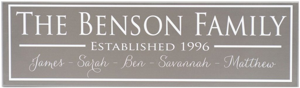 Charcoal Family Established Sign with white border, white personalized family name, white established year and individual family names along bottom of sign