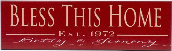 Established Sign Bless This Home Style Red