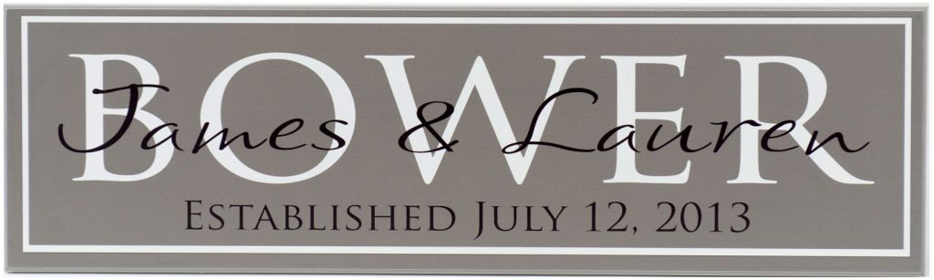 Family Established Sign in charcoal with white border. Personalized family name in white block, couple's first names and established date in black