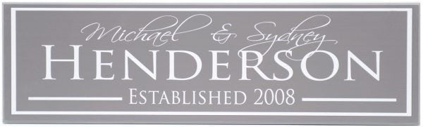 Charcoal Family Established Sign with family name, couples names, and established date in white