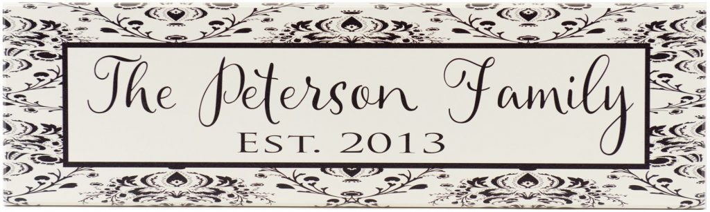 Family Established Sign off white with black damask border and black personalized family name and established year
