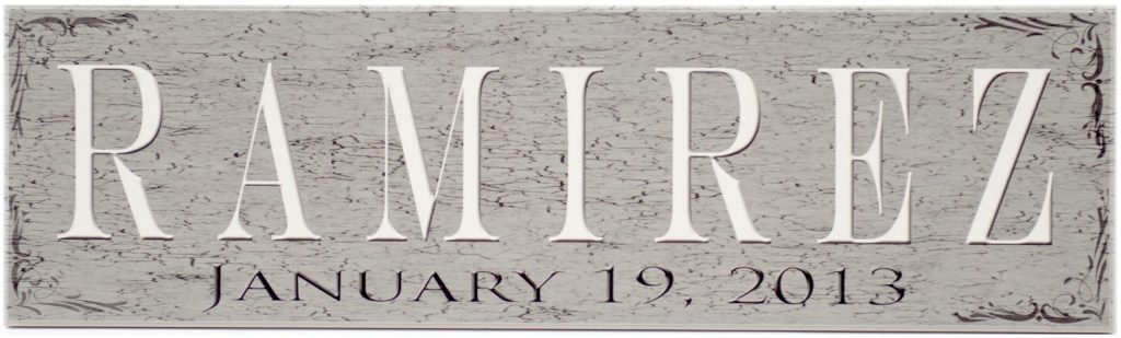 Family Established Sign Distressed and crackled wood sign in Charcoal with family name in white and established date in black