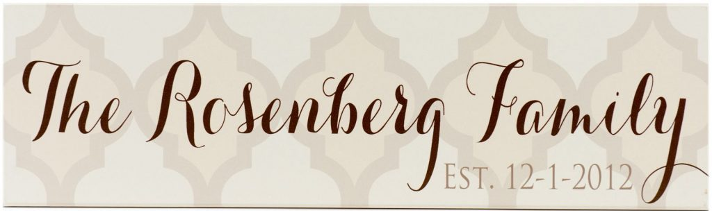 Family Established sign off white with quatrefoil design in taupe and yellow. Personalized family name in brown script through the middle