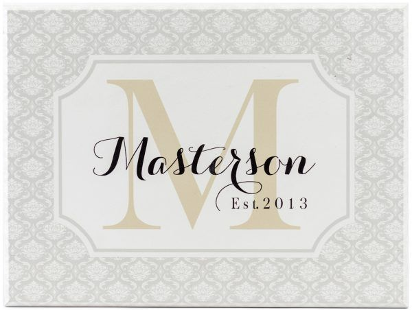 wooden monogram sign with gray damask border, Tan Monogram Letter, black script personalized name through center, and established year in corner.