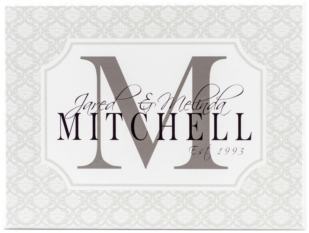 White wooden monogram sign with gray damask border, Charcoal Monogram Letter, black block personalized name through center, and established year in corner