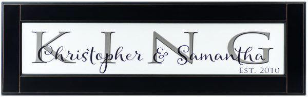 Personalized wood framed Sign White wood sign with charcoal family name framed in black wood frame with couples name and established date in black