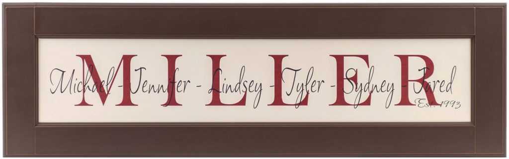 Personalized Wood Framed Sign Off white wood sign with red family name framed in chocolate wood frame with individual family names and established date in black