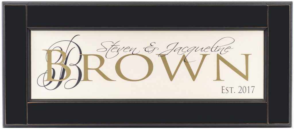 Personalized wood framed Sign Off white wood sign with sage family name framed in black wood frame with monogram and established year in black