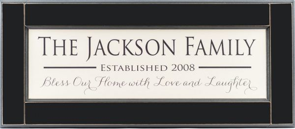 "Personalized wood framed Sign White wood sign with black family name framed in black wood frame with saying ""Bless our home with love and laughter"", and established year in black"
