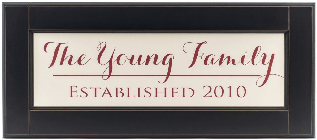Personalized wood framed Sign Off white wood sign with red family name and established year framed in black wood frame