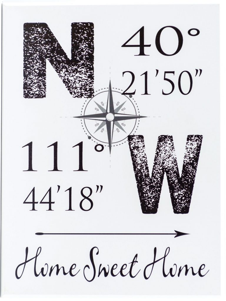 "Latitude and Longitude wooden sign with N and W directions and a compass as well as the latitude and longitude coordinates. The phrase ""Home Sweet Home"" along the bottom of the sign. black text"