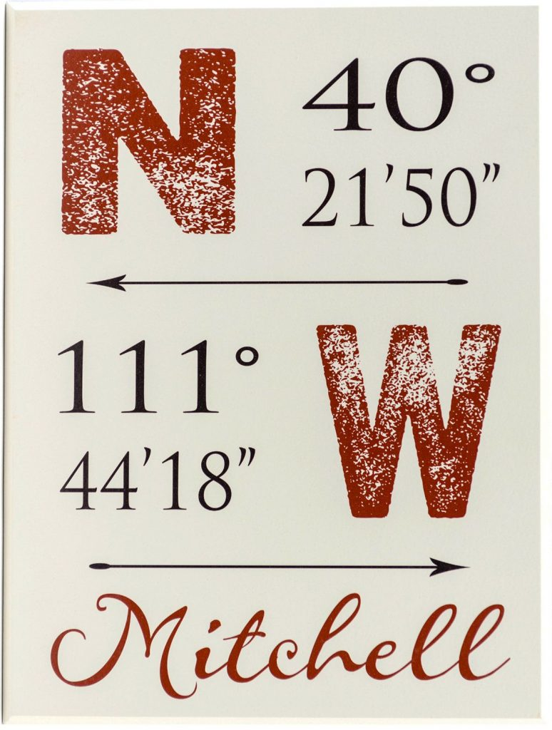Latitude and Longitude wooden sign with coordinates along the top and through the middle of the sign. Personalized family name along the bottom of the sign red and black text