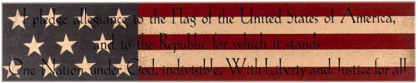 "Americana Holiday wood sign with ""Pledge of Allegiance"" text. Red, White and Blue decor."