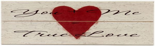"Valentine's Day Decor holiday wood sign with saying, ""You + Me = True Love"" on off white sign with red heart."