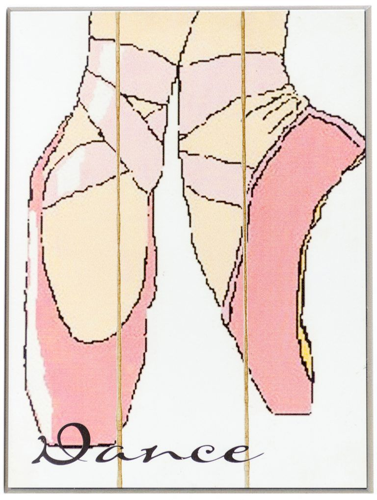 """Girls room decoration on wood. close up of ballerina dance shoes with the word """"Dance"""" in lower left corner"""