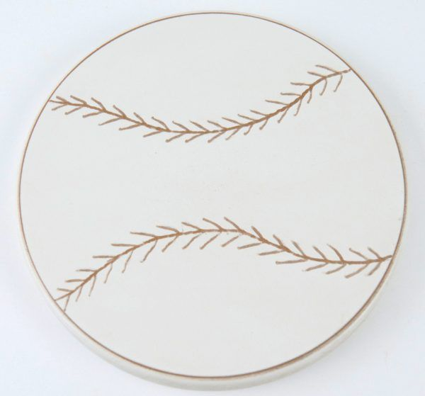 Large wood white baseball with carved thread design for boys bedroom wall decor