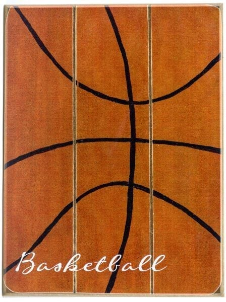 Basketball wood sign with white text for boys bedroom wall decor