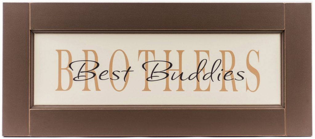 Brother Best Buddies wood sign with brown wood frame for boy's bedroom wall decor.