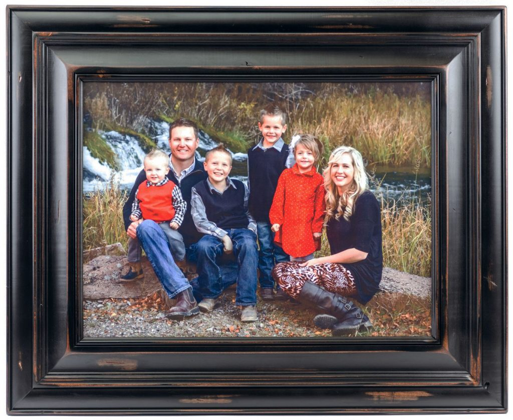 large family personalized wood photo with knotty black frame