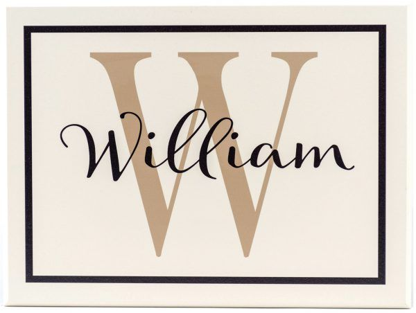Boys personalized name sign with monogram for boys bedroom wall decor. Off White wood sign with tan text.