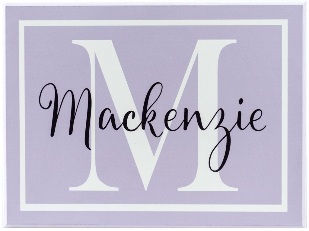 "Girls room decoration personalized Monogram name sign. Purple sign with white monogram letter and girl's name in black, ""Mackenzie"""