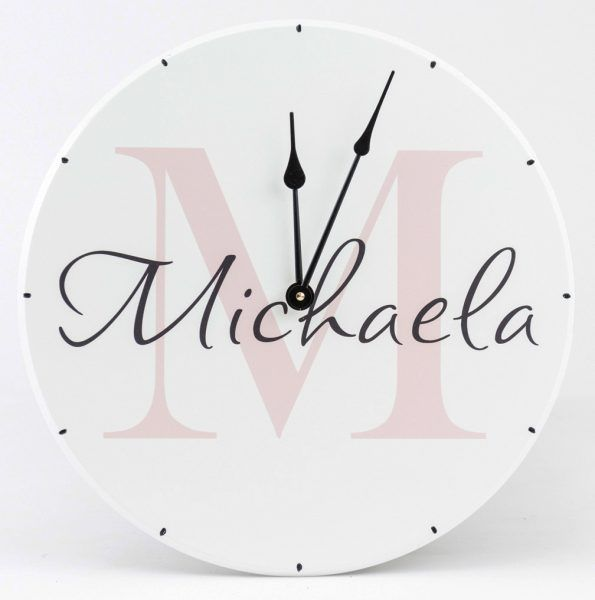 Personalized wooden wall clock with monogram and girls name. Round clock for girls room decoration with pink name letter.