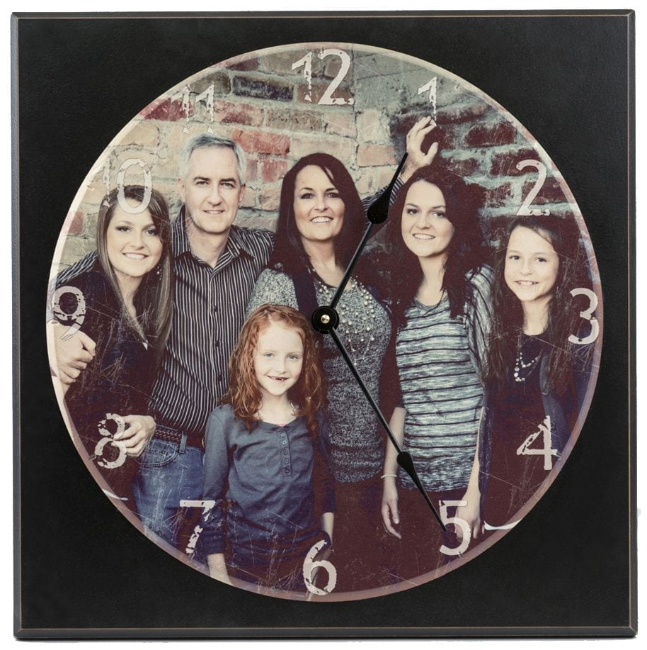 Personalized Photo wall clock image on clock with square black background.