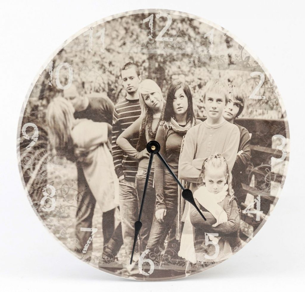 Personalized Sepia tone Photo image on wooden wall clock.