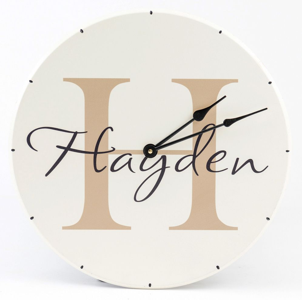 Personalized clock with monogram and boys name. Wood clock for boys bedroom wall decor white with tan text