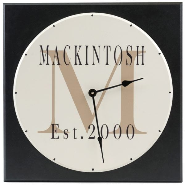 Personalized Wooden Wall Clock With Family Name And Monogram On Square  Black Background With Tan Letter