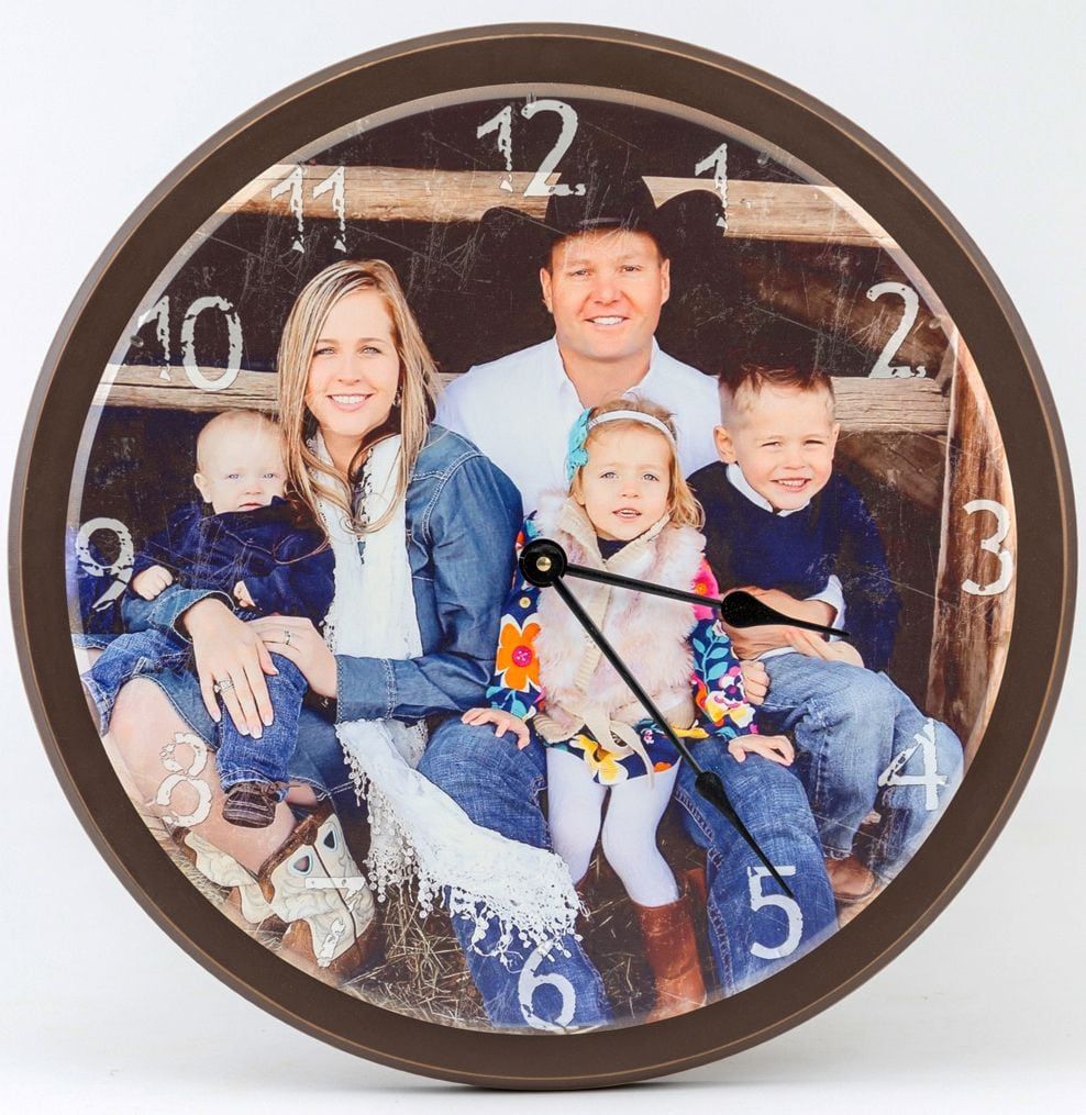 wooden photo wall clock with trim around the rim. rustic look