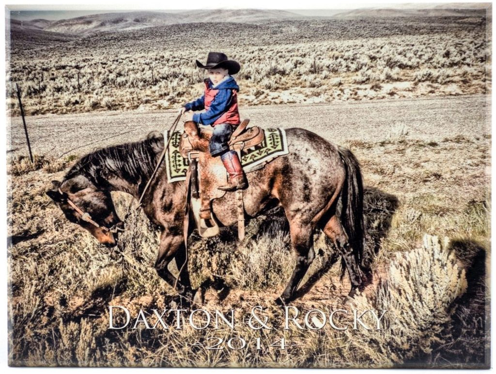 instagram personalized wood photo of boy riding horse in wyoming