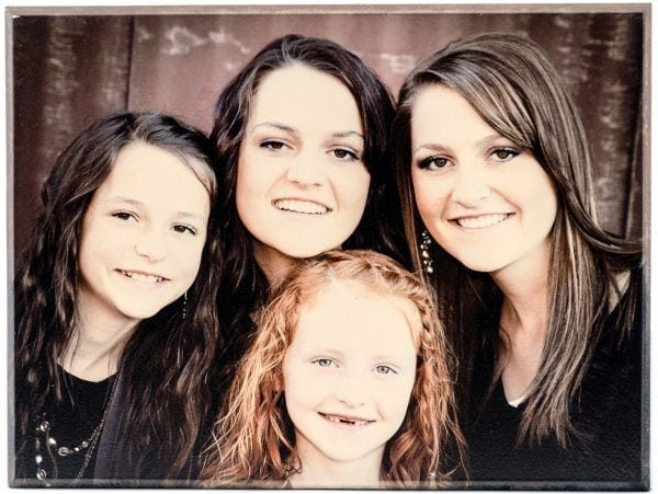 family personalized wood photo of mother and her three daughters without text