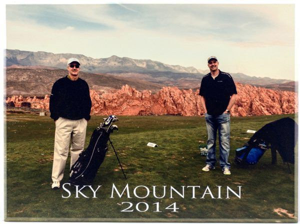 photo of golf trip at Sky Mountain in 2014 printed on wood portrait