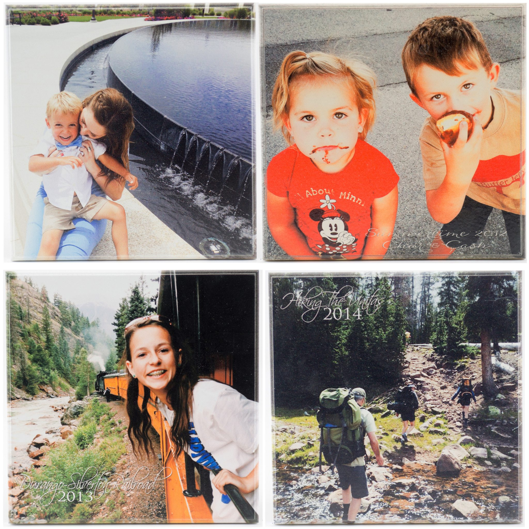 four set of personalized pictures on wood of family activities