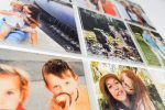 close up of nine square personalized pictures on wood with text