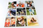 a set of nine square photos in a 3 row by 3 column format all printed on wood