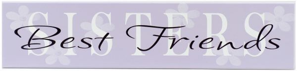 girls room decoration Purple wood sign with white text, Sisters Best Friends.
