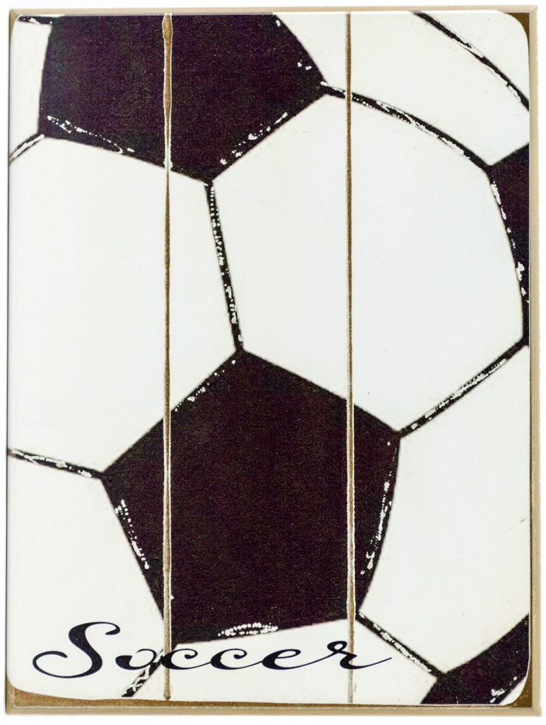 Soccer wood plaque for boys or girls room decor.