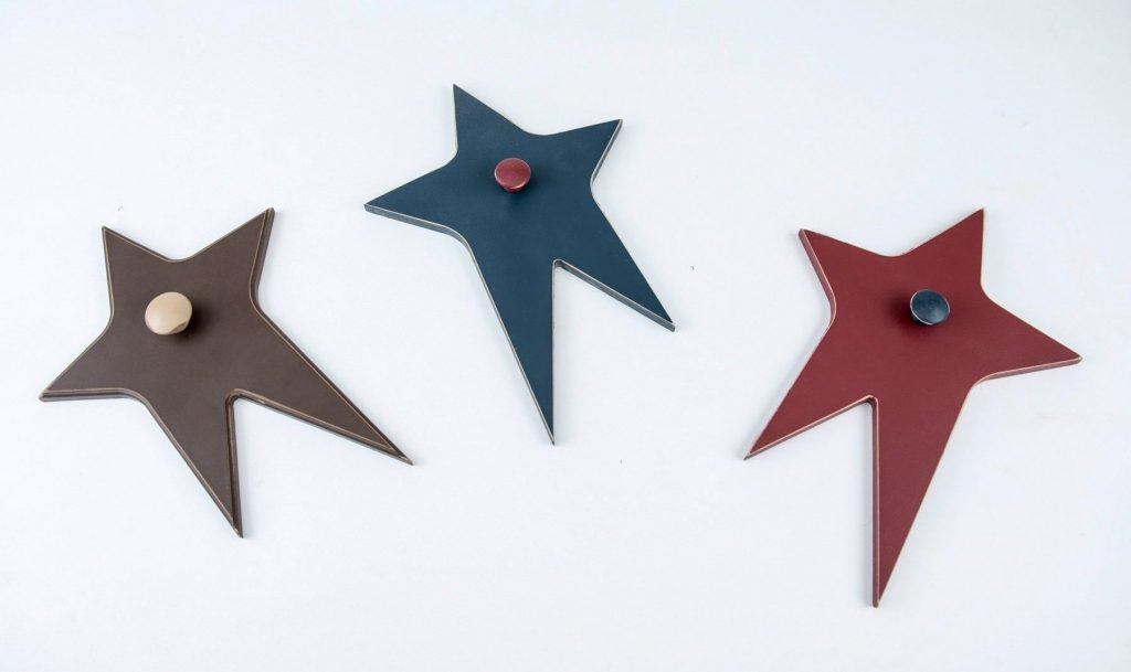Wooden Wall Stars blue, red, black with knob for boys room decor