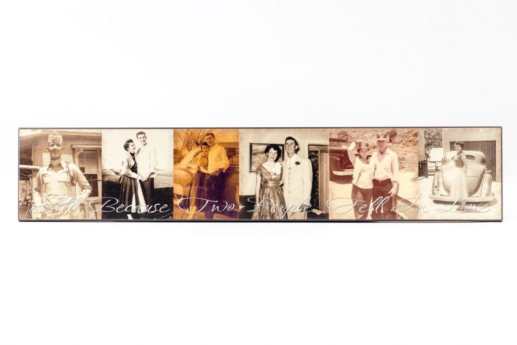 horizontal wood photo collage of man and wife with text