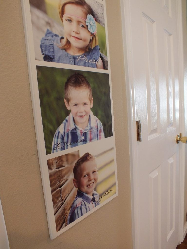 vertical wood photo collage of children hanging on wall