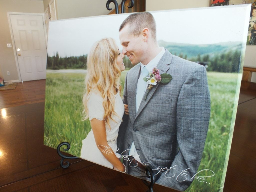 personalized wood picture of anniversary with text