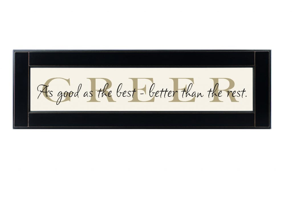 Original Personalized Family Name Sign. Off white wood sign with tan family name framed in black wood frame with saying