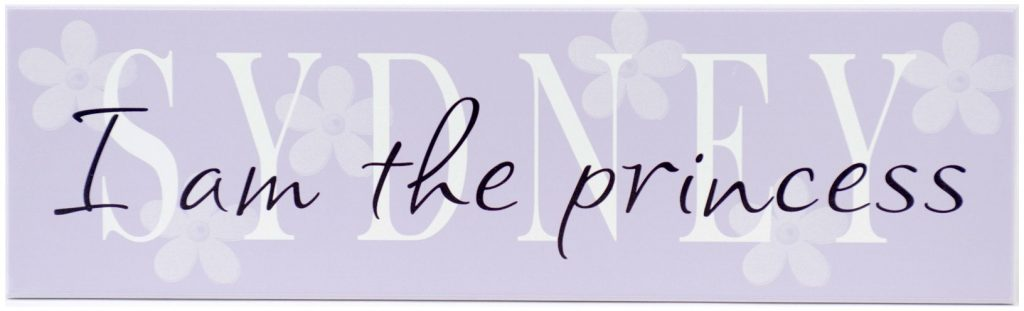 Girls personalized name sign. Purple wood sign with white Girl's Name text and white flowers.