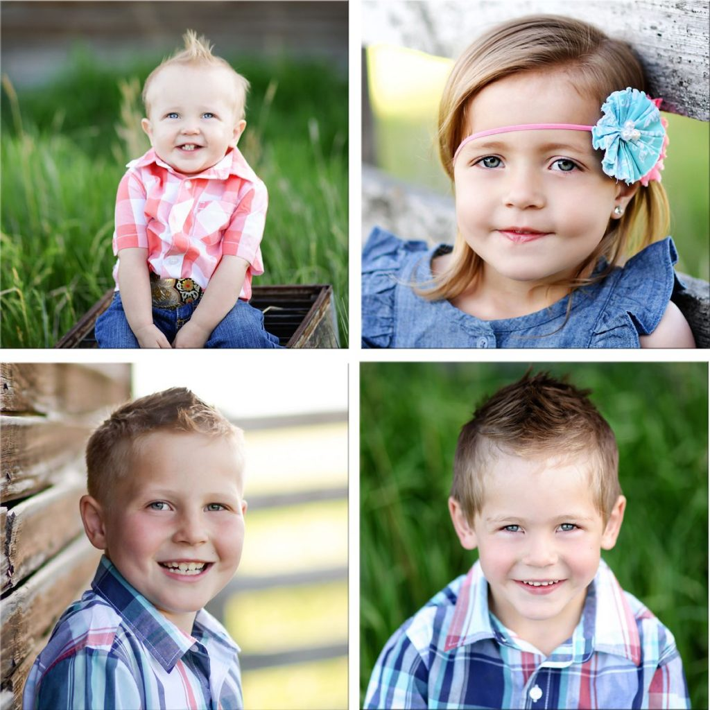 four by four wood print photo collage of children