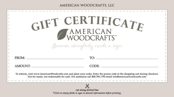 American Woodcrafts Gift Certificate