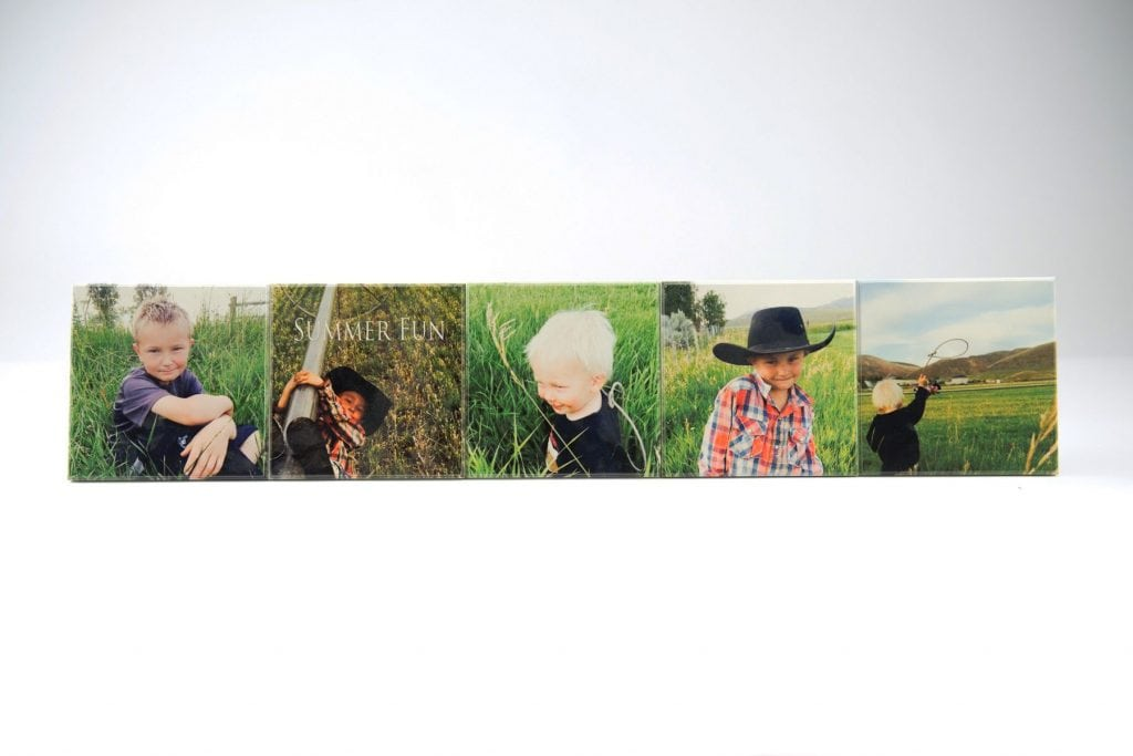 five horizontal wood photo collage of children on farm