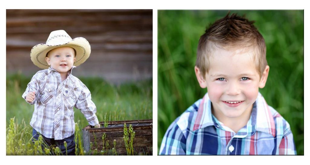 two wood photos printed on wood with sons in grass setting